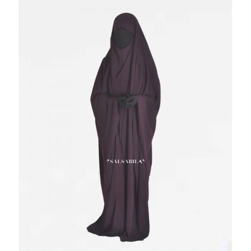 One Piece Jilbab Saudi Purple