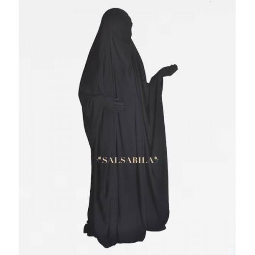 One Piece Jilbab Saudi Black
