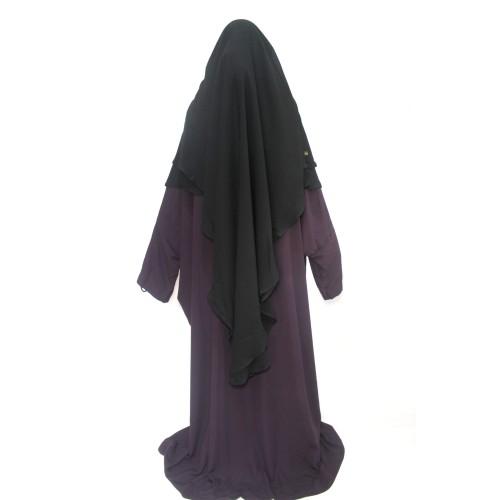 Abaya With Buttons Raisin Dark Purple