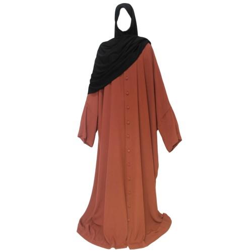 Abaya With Buttons Cinnamon Brown