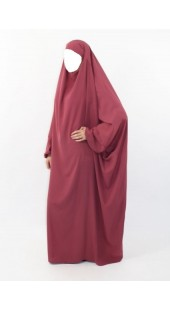 Jilbab One Piece Kawthar WOOL PEACH Burgundy Pink