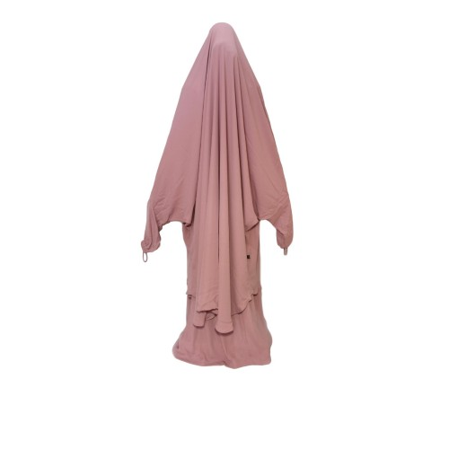 Two Piece Jilbab Ash Rose With Finger Loops