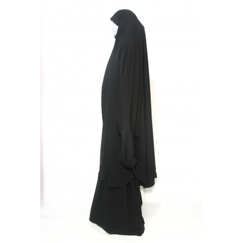 Two Piece Jilbab Black With Finger Loops