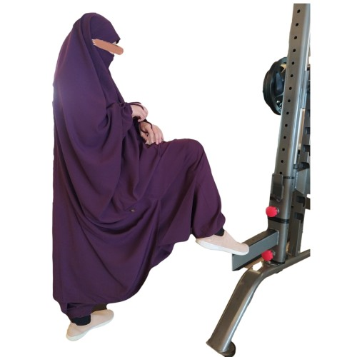 Jilbab Two Piece With-Sarouel/Hareem Pants (Plum-Purple)
