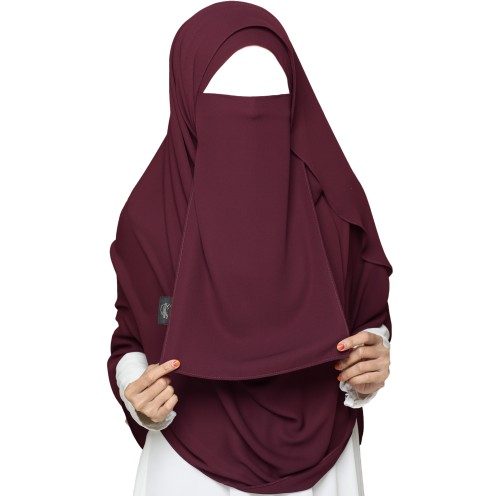 Tie-Back Half Burgundy & Hijab Set