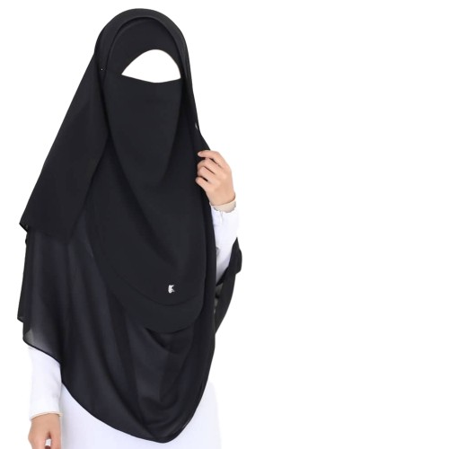 Tie-Back Half Niqab Black Long & Hijab Set