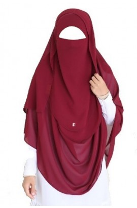 Tie-Back Half Niqab Maroon Long & Hijab Set