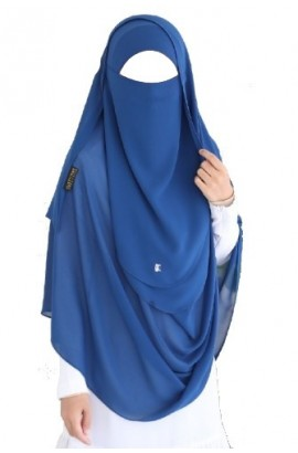 Tie-Back Half Niqab Navy Blue Long & Hijab Set