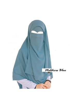 One Layer Niqab Maldives Blue V-Curve (Peak / Eagle Eye) Long & Hijab Set