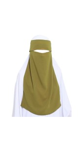 One Layer Niqab Olive Green with Flap (Hidden Eyes) Long
