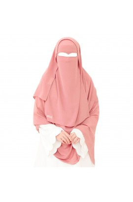 One Layer Niqab Dusty-Pink V-Curve (Peak / Eagle Eye) Long & Hijab Set