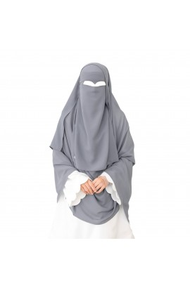 One Layer Niqab Dark-Grey V-Curve (Peak / Eagle Eye) Long & Hijab Set