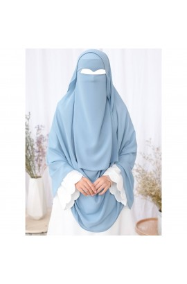 One Layer Niqab Sky- Blue V-Curve (Peak / Eagle Eye) Long & Hijab Set
