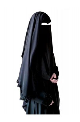 Two Layer Niqab Black V-Curve with Ruffles (Long)