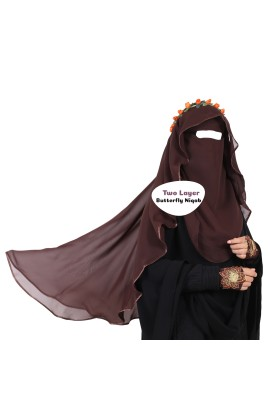 Two Layer Butterfly Niqab Dark Brown (Long)