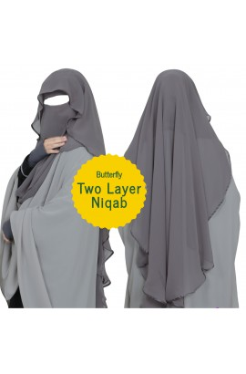 Two Layer Butterfly Niqab Dark grey (Long)