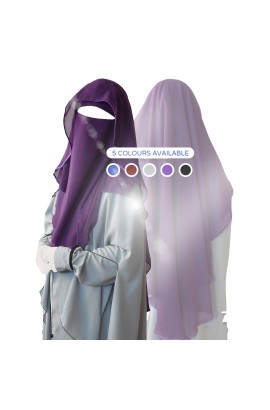 Two Layer Butterfly Niqab Dark Purple (Long)
