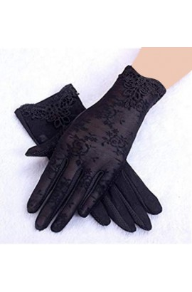 Touch Screen UV Protection Lace Gloves Black